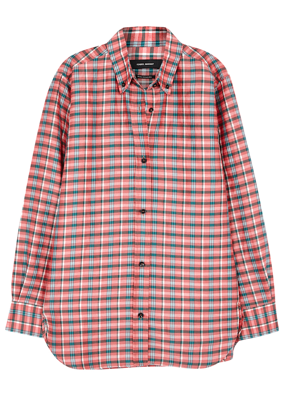 Manray Checked Ramie Blend Shirt - neckline: shirt collar/peter pan/zip with opening; pattern: checked/gingham; style: shirt; predominant colour: pink; secondary colour: charcoal; occasions: casual; length: standard; fibres: silk - mix; fit: body skimming; sleeve length: long sleeve; sleeve style: standard; texture group: silky - light; pattern type: fabric; pattern size: standard; multicoloured: multicoloured; season: a/w 2016; wardrobe: highlight