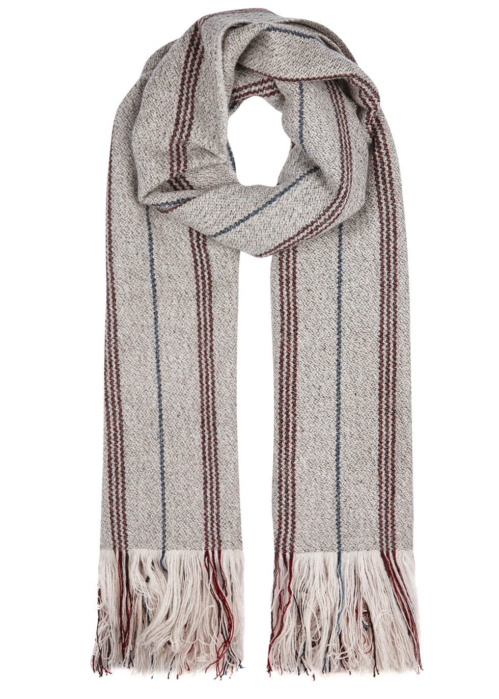 Alva Wool And Cashmere Blend Scarf - secondary colour: yellow; predominant colour: light grey; occasions: casual; type of pattern: light; style: regular; size: standard; material: knits; embellishment: tassels; pattern: striped; multicoloured: multicoloured; season: a/w 2016; wardrobe: highlight