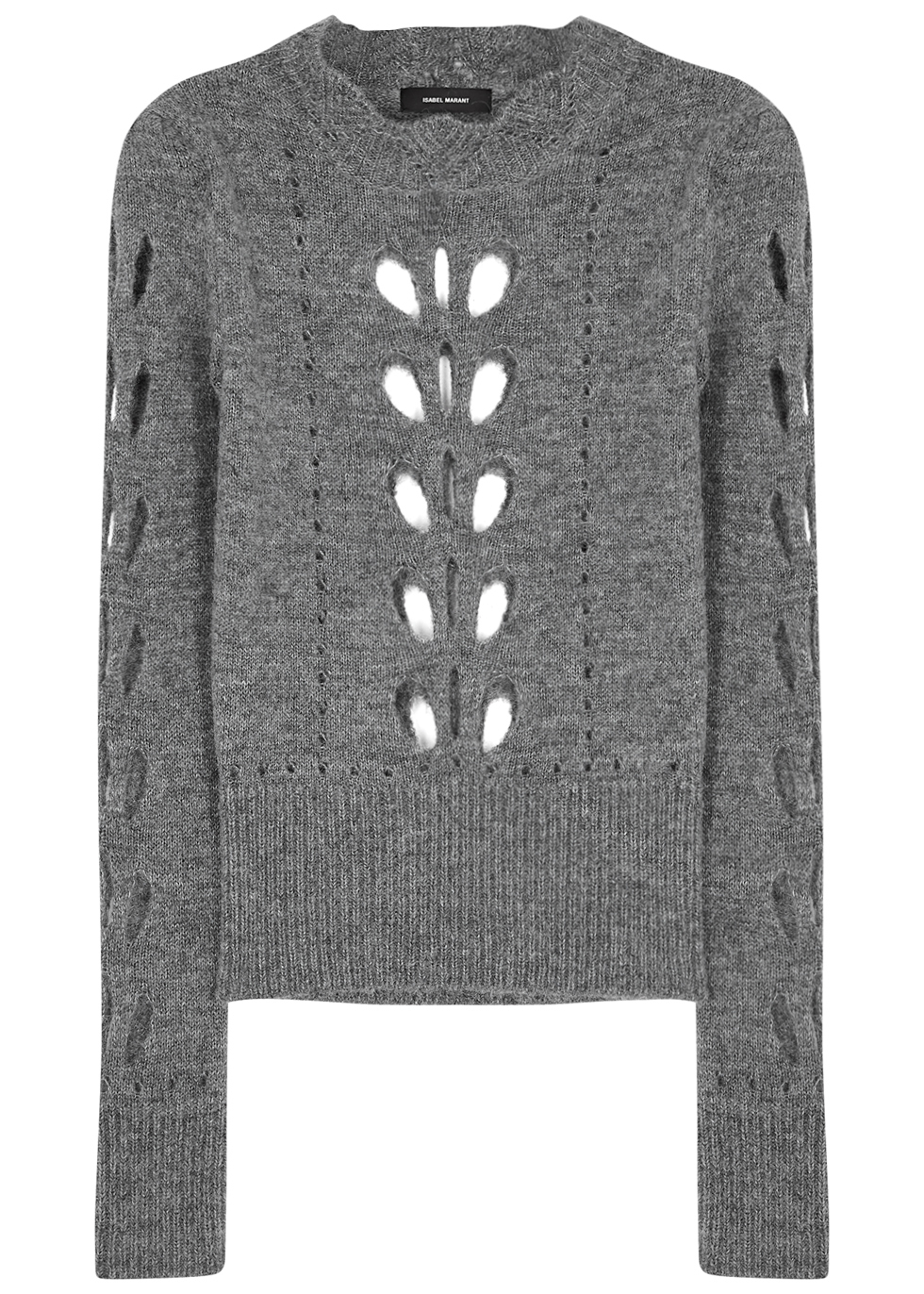 Ilia Grey Cut Out Jumper - pattern: plain; style: standard; predominant colour: charcoal; occasions: casual; length: standard; fibres: acrylic - mix; fit: slim fit; neckline: crew; sleeve length: long sleeve; sleeve style: standard; texture group: knits/crochet; pattern type: knitted - other; wardrobe: basic; season: a/w 2016