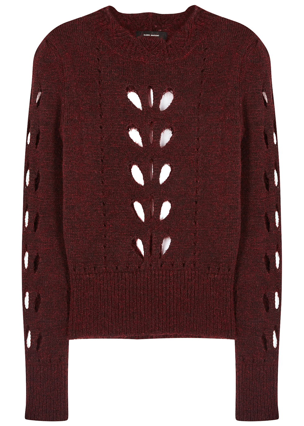 Ilia Burgundy Cut Out Jumper - pattern: plain; style: standard; predominant colour: burgundy; occasions: casual; length: standard; fibres: acrylic - mix; fit: slim fit; neckline: crew; sleeve length: long sleeve; sleeve style: standard; texture group: knits/crochet; pattern type: knitted - other; season: a/w 2016