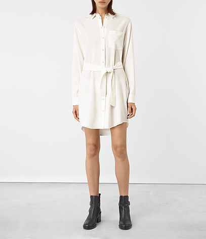 Jules Shirt Dress - style: shirt; length: mid thigh; neckline: shirt collar/peter pan/zip with opening; pattern: plain; waist detail: belted waist/tie at waist/drawstring; predominant colour: ivory/cream; occasions: casual, creative work; fit: straight cut; fibres: polyester/polyamide - 100%; sleeve length: long sleeve; sleeve style: standard; texture group: crepes; pattern type: fabric; wardrobe: basic; season: a/w 2016