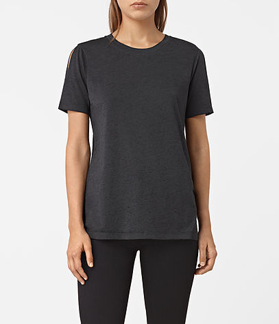 Row Devo Tee - pattern: plain; style: t-shirt; predominant colour: black; occasions: casual; length: standard; fibres: cotton - mix; fit: body skimming; neckline: crew; sleeve length: short sleeve; sleeve style: standard; pattern type: fabric; texture group: jersey - stretchy/drapey; season: a/w 2016