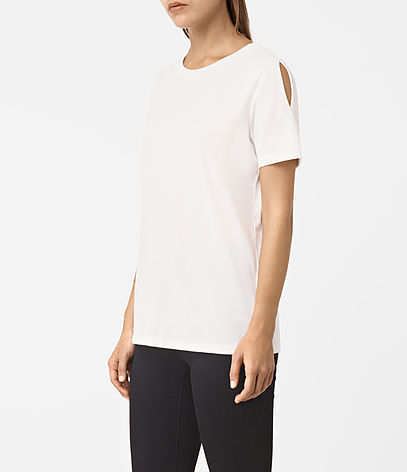 Row Devo Tee - pattern: plain; style: t-shirt; predominant colour: ivory/cream; occasions: casual, creative work; length: standard; fibres: cotton - 100%; fit: straight cut; neckline: crew; shoulder detail: cut out shoulder; sleeve length: short sleeve; sleeve style: standard; texture group: crepes; pattern type: fabric; season: a/w 2016; wardrobe: highlight