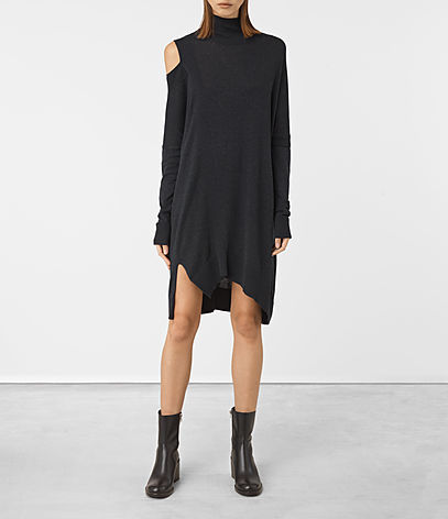 Cecily Dress - style: t-shirt; length: mid thigh; fit: loose; pattern: plain; neckline: roll neck; predominant colour: black; occasions: casual, creative work; fibres: polyester/polyamide - stretch; shoulder detail: cut out shoulder; sleeve length: long sleeve; sleeve style: standard; pattern type: fabric; texture group: jersey - stretchy/drapey; season: a/w 2016