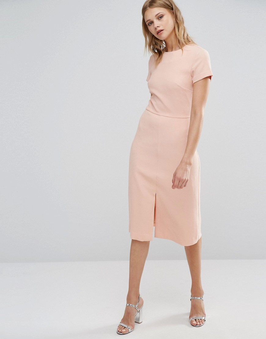 Split Front Dress Pink - style: shift; length: below the knee; fit: tailored/fitted; pattern: plain; predominant colour: blush; occasions: evening; fibres: polyester/polyamide - 100%; neckline: crew; hip detail: slits at hip; sleeve length: short sleeve; sleeve style: standard; texture group: crepes; pattern type: fabric; season: a/w 2016; wardrobe: event