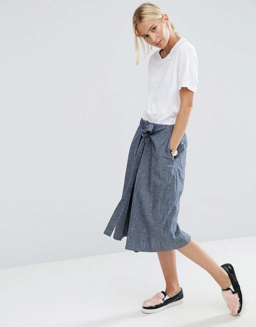 Denim Tie Front A Line Skirt In Textured Fabric Blue - length: below the knee; pattern: plain; fit: loose/voluminous; waist detail: belted waist/tie at waist/drawstring; waist: mid/regular rise; predominant colour: denim; occasions: casual; style: a-line; fibres: cotton - 100%; texture group: cotton feel fabrics; pattern type: fabric; season: a/w 2016; wardrobe: highlight