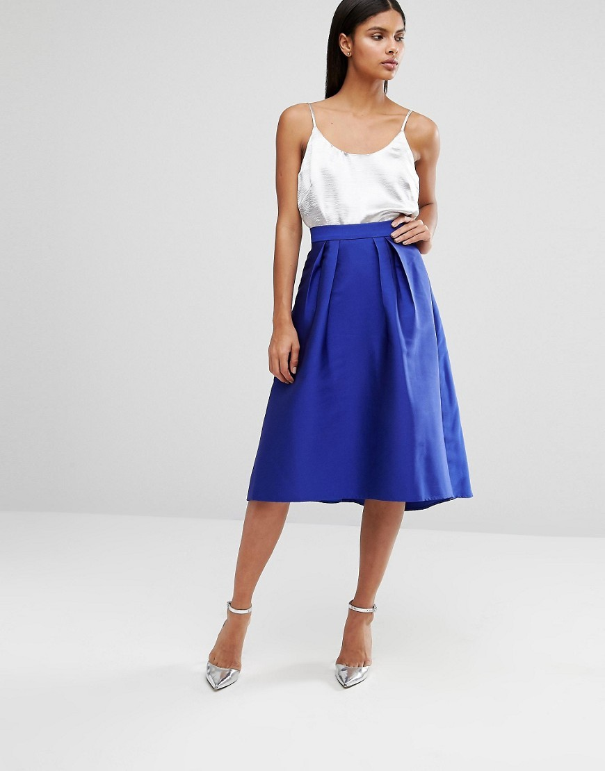Satin Full Midi Skirt Blue - length: below the knee; pattern: plain; style: full/prom skirt; fit: loose/voluminous; waist: high rise; predominant colour: royal blue; fibres: polyester/polyamide - 100%; occasions: occasion, creative work; hip detail: soft pleats at hip/draping at hip/flared at hip; texture group: structured shiny - satin/tafetta/silk etc.; pattern type: fabric; season: a/w 2016; wardrobe: highlight