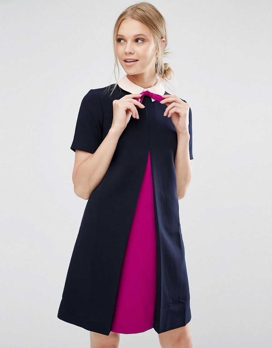 Wonce Tunic Dress With Contrast Pleat Front Navy - style: shift; secondary colour: hot pink; predominant colour: navy; occasions: evening; length: just above the knee; fit: body skimming; fibres: polyester/polyamide - stretch; neckline: no opening/shirt collar/peter pan; sleeve length: short sleeve; sleeve style: standard; pattern type: fabric; pattern: colourblock; texture group: jersey - stretchy/drapey; season: a/w 2016; wardrobe: event