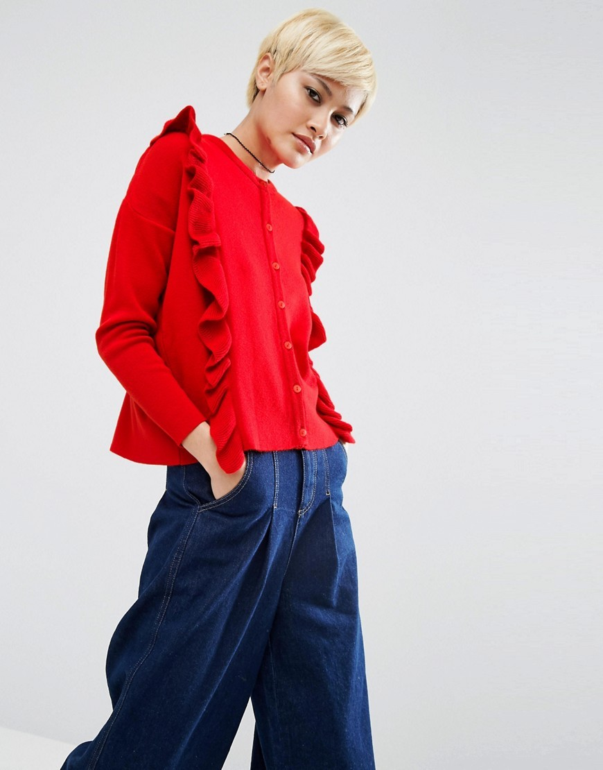 Fine Cardigan With Ruffles Red - neckline: round neck; pattern: plain; predominant colour: true red; occasions: casual, creative work; length: standard; style: standard; fibres: acrylic - 100%; fit: standard fit; shoulder detail: bulky shoulder detail; sleeve length: long sleeve; sleeve style: standard; texture group: knits/crochet; pattern type: knitted - fine stitch; season: a/w 2016; wardrobe: highlight