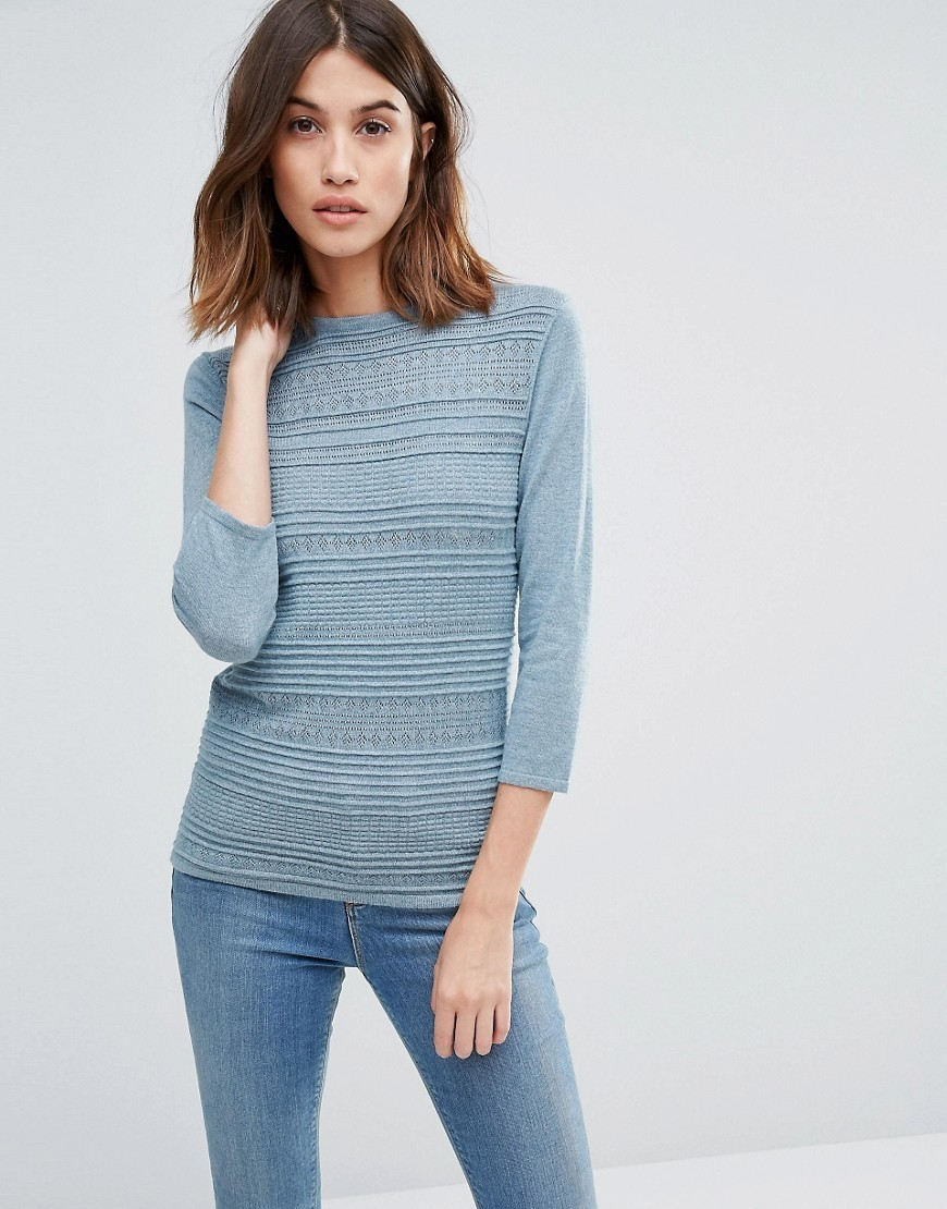 Textured Knit Jumper Blue Marl - pattern: horizontal stripes; style: standard; predominant colour: diva blue; occasions: casual, work, creative work; length: standard; fit: slim fit; neckline: crew; sleeve length: 3/4 length; sleeve style: standard; texture group: knits/crochet; pattern type: knitted - fine stitch; pattern size: light/subtle; fibres: viscose/rayon - mix; season: a/w 2016; wardrobe: highlight