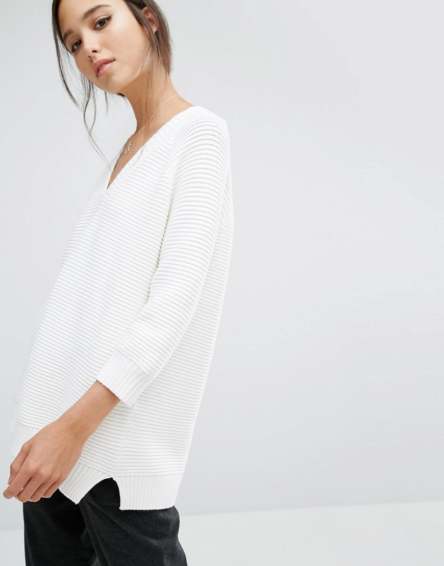 Mozart Ripple Jumper White - neckline: v-neck; pattern: plain; style: standard; predominant colour: white; occasions: casual; length: standard; fibres: cotton - 100%; fit: loose; sleeve length: 3/4 length; sleeve style: standard; texture group: knits/crochet; pattern type: knitted - other; wardrobe: basic; season: a/w 2016