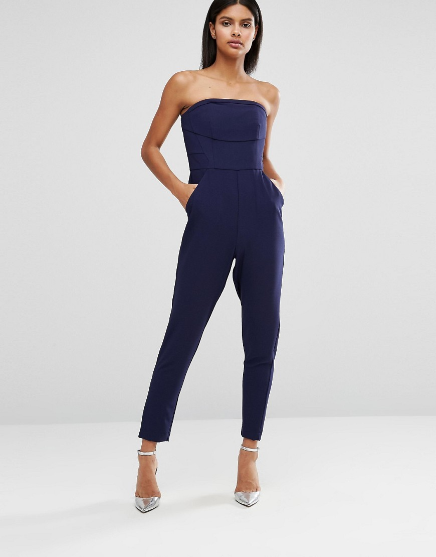 Bandeau Jumpsuit Navy - length: standard; neckline: strapless (straight/sweetheart); fit: tailored/fitted; pattern: plain; sleeve style: strapless; waist detail: fitted waist; predominant colour: navy; occasions: evening, holiday; fibres: polyester/polyamide - stretch; sleeve length: sleeveless; style: jumpsuit; pattern type: fabric; texture group: other - light to midweight; season: a/w 2016; wardrobe: highlight
