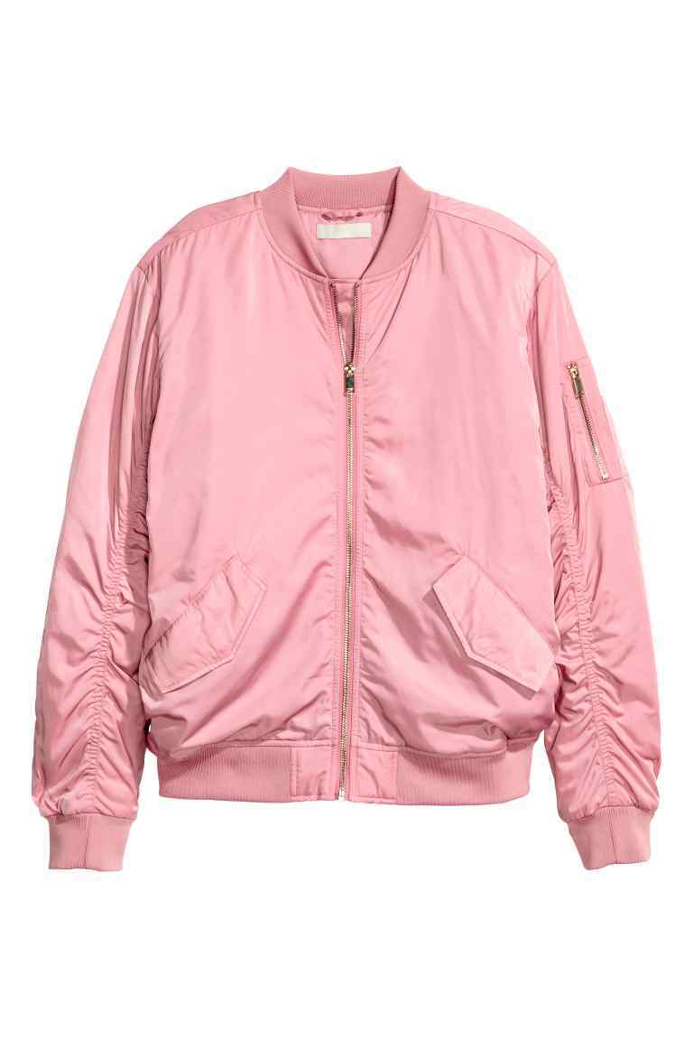 Bomber Jacket - pattern: plain; collar: round collar/collarless; style: bomber; predominant colour: pink; occasions: casual, creative work; length: standard; fit: straight cut (boxy); fibres: polyester/polyamide - 100%; sleeve length: long sleeve; sleeve style: standard; texture group: structured shiny - satin/tafetta/silk etc.; collar break: high; pattern type: fabric; season: a/w 2016; wardrobe: highlight