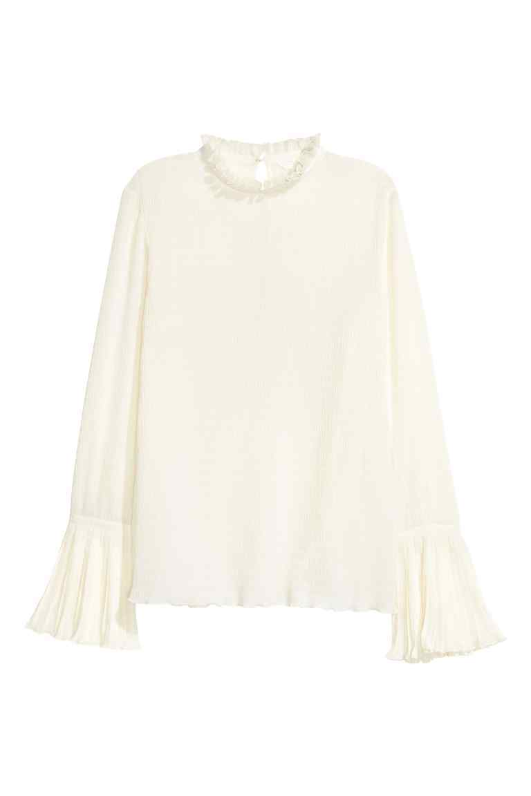 Blouse With Trumpet Sleeves - pattern: plain; neckline: high neck; sleeve style: trumpet; predominant colour: white; occasions: evening; length: standard; style: top; fibres: polyester/polyamide - 100%; fit: body skimming; sleeve length: long sleeve; pattern type: fabric; texture group: other - light to midweight; season: a/w 2016; wardrobe: event; trends: statement sleeves