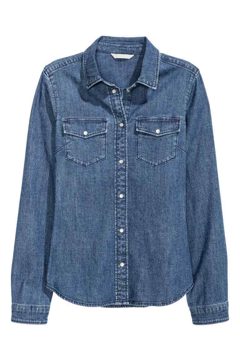 Fitted Denim Shirt - neckline: shirt collar/peter pan/zip with opening; pattern: plain; style: shirt; predominant colour: denim; occasions: casual; length: standard; fibres: cotton - 100%; fit: body skimming; sleeve length: long sleeve; sleeve style: standard; texture group: denim; pattern type: fabric; wardrobe: basic; season: a/w 2016