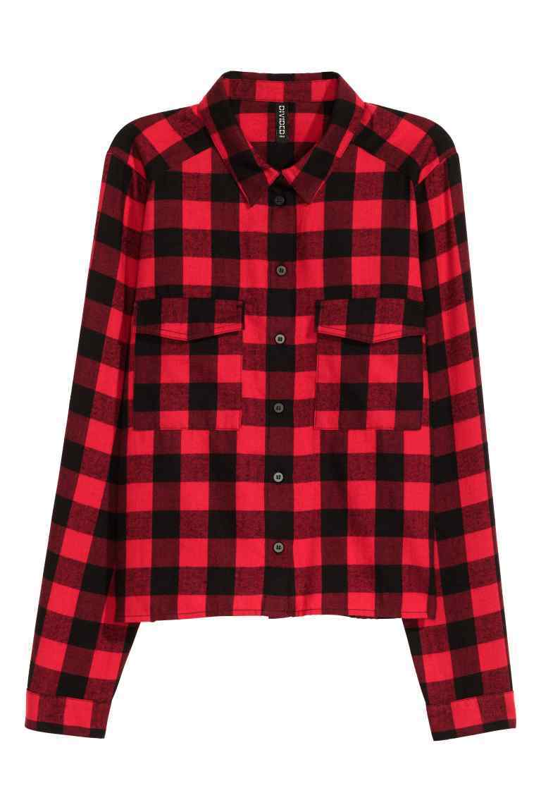 Short Flannel Shirt - neckline: shirt collar/peter pan/zip with opening; pattern: checked/gingham; style: shirt; predominant colour: true red; secondary colour: black; occasions: casual; length: standard; fibres: cotton - 100%; fit: body skimming; sleeve length: long sleeve; sleeve style: standard; texture group: cotton feel fabrics; pattern type: fabric; multicoloured: multicoloured; season: a/w 2016; wardrobe: highlight