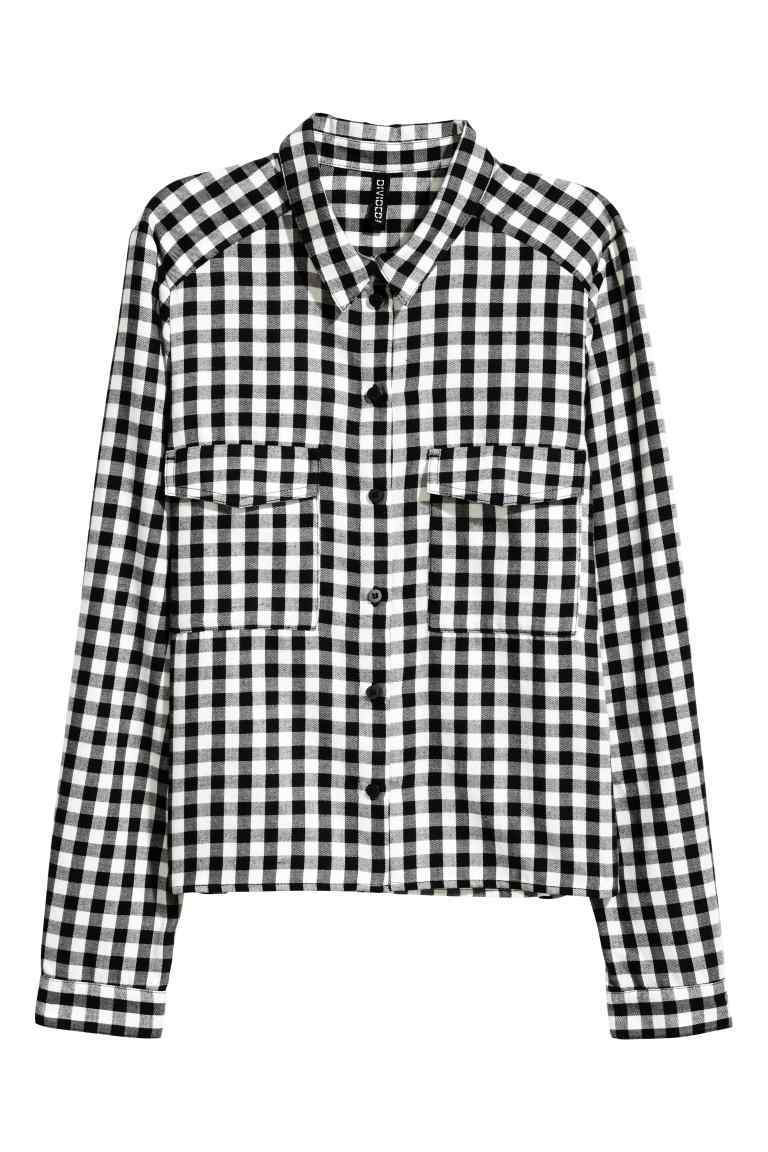 Short Flannel Shirt - neckline: shirt collar/peter pan/zip with opening; pattern: checked/gingham; style: shirt; secondary colour: white; predominant colour: black; occasions: casual; length: standard; fibres: cotton - 100%; fit: body skimming; sleeve length: long sleeve; sleeve style: standard; texture group: cotton feel fabrics; pattern type: fabric; multicoloured: multicoloured; season: a/w 2016; wardrobe: highlight