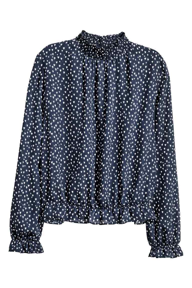 Patterned Blouse - neckline: high neck; style: blouse; pattern: polka dot; secondary colour: white; predominant colour: navy; occasions: casual; length: standard; fibres: polyester/polyamide - 100%; fit: body skimming; sleeve length: long sleeve; sleeve style: standard; pattern type: fabric; texture group: other - light to midweight; multicoloured: multicoloured; season: a/w 2016; wardrobe: highlight; trends: statement sleeves