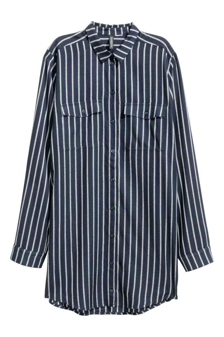 Long Shirt - neckline: shirt collar/peter pan/zip with opening; pattern: vertical stripes; length: below the bottom; style: shirt; secondary colour: white; predominant colour: navy; occasions: casual; fibres: viscose/rayon - 100%; fit: body skimming; sleeve length: long sleeve; sleeve style: standard; pattern type: fabric; texture group: woven light midweight; multicoloured: multicoloured; season: a/w 2016