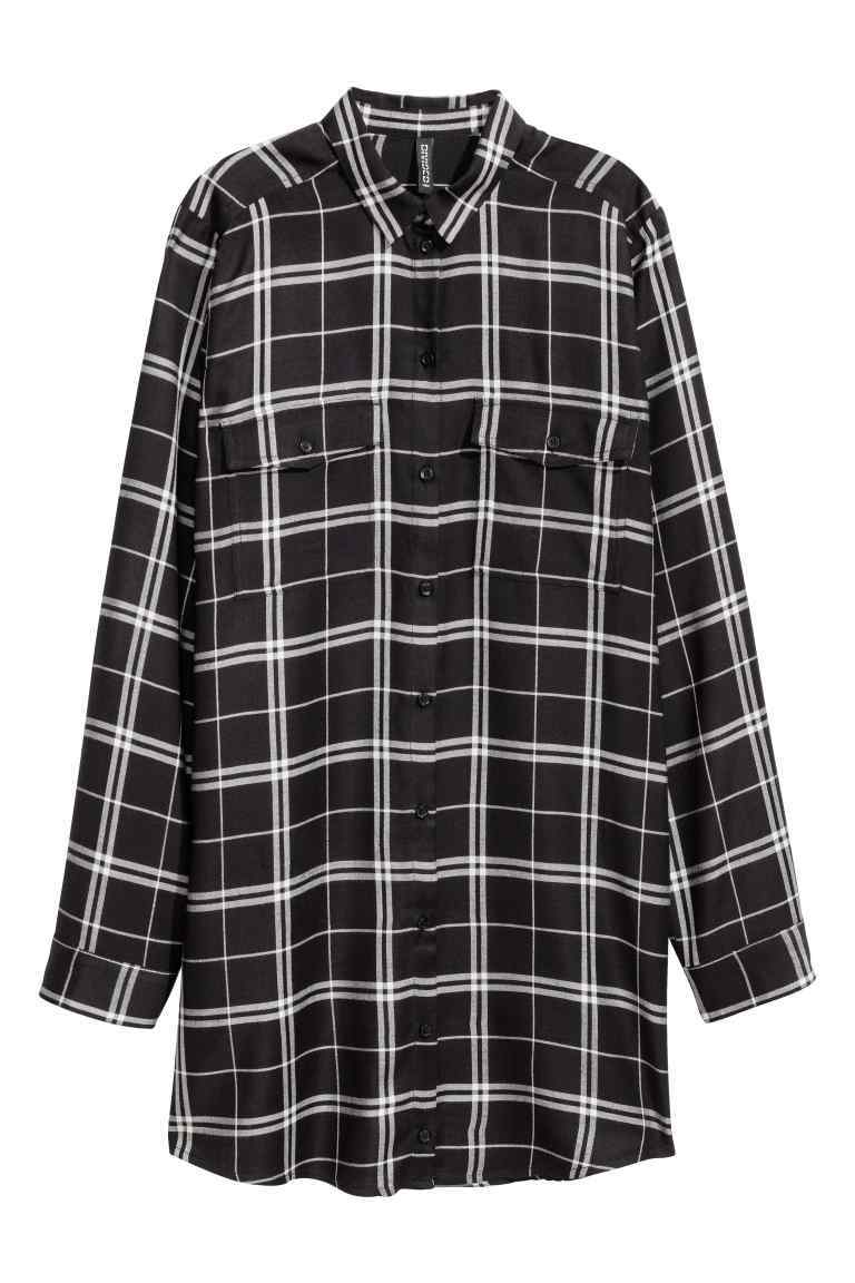 Long Shirt - neckline: shirt collar/peter pan/zip with opening; pattern: checked/gingham; length: below the bottom; style: shirt; secondary colour: white; predominant colour: black; occasions: casual; fibres: viscose/rayon - 100%; fit: body skimming; sleeve length: long sleeve; sleeve style: standard; trends: monochrome; texture group: cotton feel fabrics; pattern type: fabric; multicoloured: multicoloured; season: a/w 2016; wardrobe: highlight