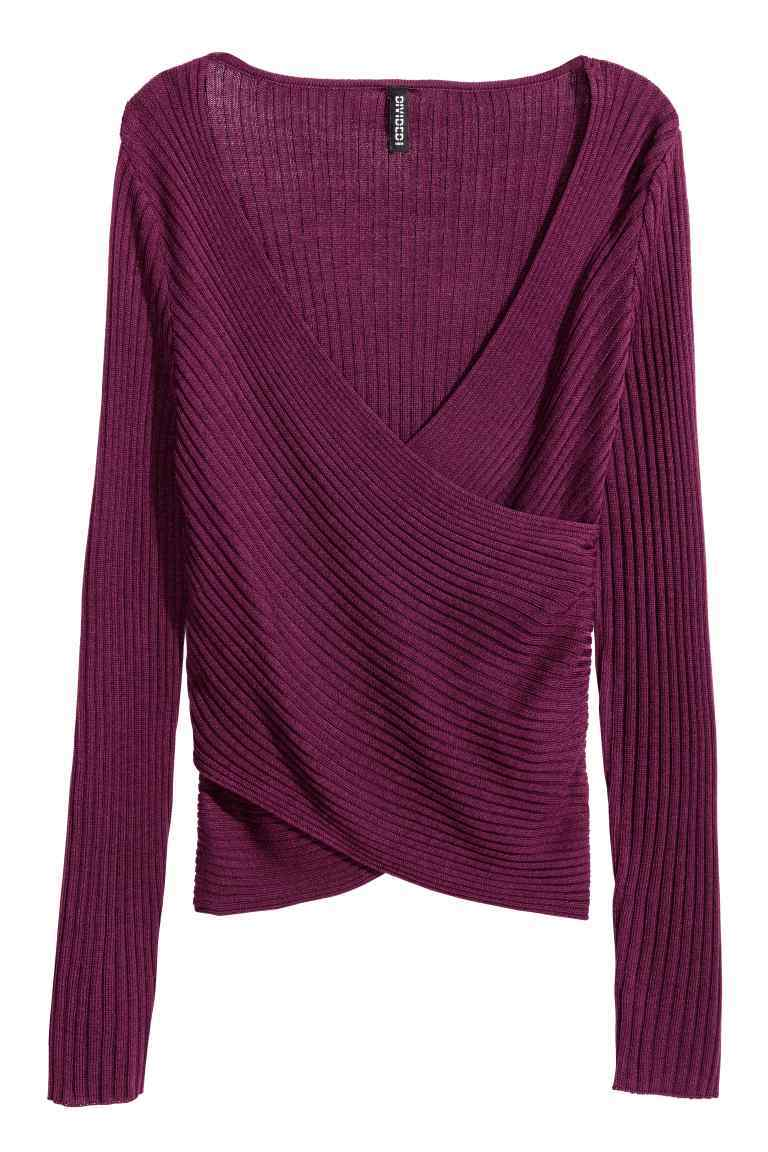 Ribbed Wrapover Top - neckline: v-neck; pattern: plain; style: wrap/faux wrap; predominant colour: purple; occasions: casual; length: standard; fibres: acrylic - mix; fit: body skimming; sleeve length: long sleeve; sleeve style: standard; pattern type: fabric; texture group: jersey - stretchy/drapey; season: a/w 2016; wardrobe: highlight