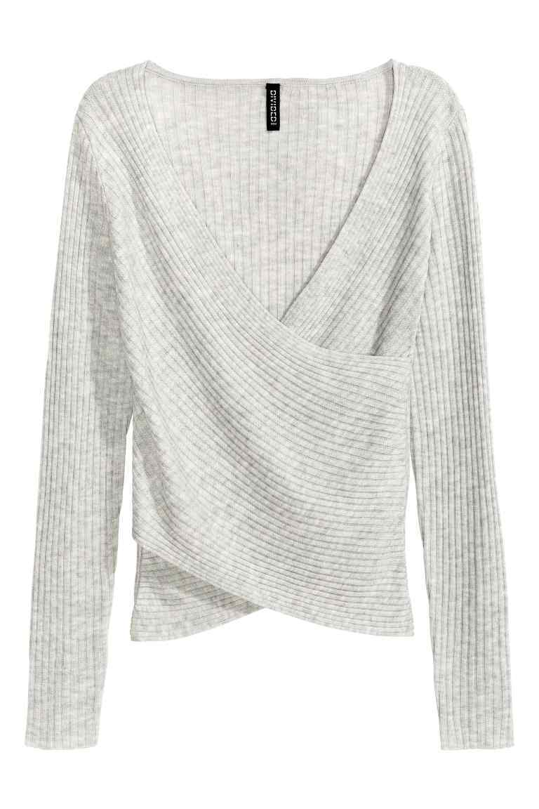 Ribbed Wrapover Top - neckline: low v-neck; pattern: plain; style: wrap/faux wrap; predominant colour: light grey; occasions: casual; length: standard; fibres: acrylic - mix; fit: body skimming; sleeve length: long sleeve; sleeve style: standard; pattern type: fabric; texture group: jersey - stretchy/drapey; wardrobe: basic; season: a/w 2016