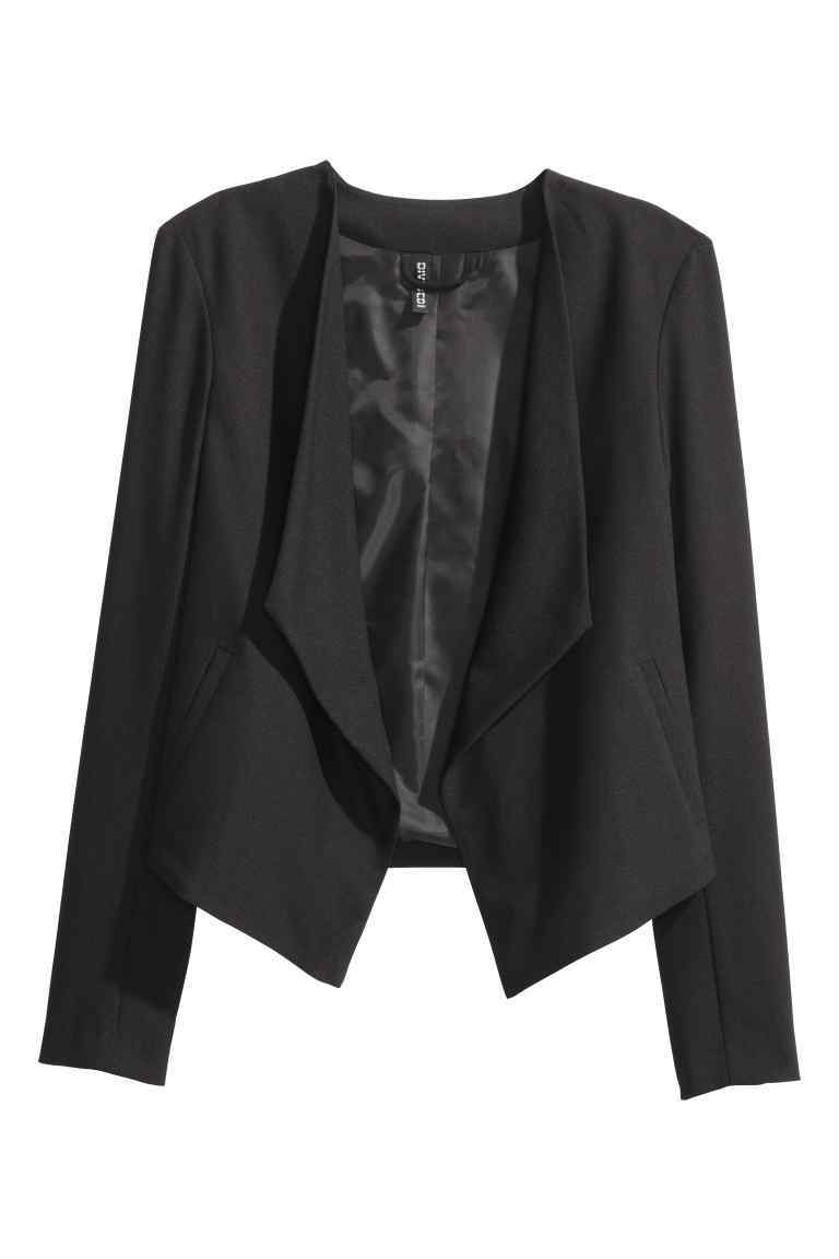 Draped Jacket - pattern: plain; style: single breasted blazer; collar: standard lapel/rever collar; predominant colour: black; occasions: evening, creative work; length: standard; fit: tailored/fitted; fibres: polyester/polyamide - 100%; sleeve length: long sleeve; sleeve style: standard; texture group: crepes; collar break: low/open; pattern type: fabric; wardrobe: investment; season: a/w 2016