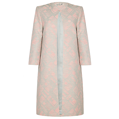Quarry Coat, Pink - collar: round collar/collarless; style: single breasted; length: mid thigh; predominant colour: blush; secondary colour: silver; fit: straight cut (boxy); fibres: cotton - mix; occasions: occasion; sleeve length: 3/4 length; sleeve style: standard; collar break: high; pattern type: fabric; pattern size: standard; pattern: patterned/print; texture group: brocade/jacquard; season: a/w 2016; wardrobe: event