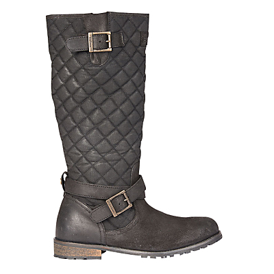 Holford Knee High Boots - predominant colour: black; occasions: casual, creative work; material: leather; heel height: flat; embellishment: quilted; heel: block; toe: round toe; boot length: knee; style: wellies; finish: plain; pattern: plain; shoe detail: tread; season: a/w 2016; wardrobe: highlight