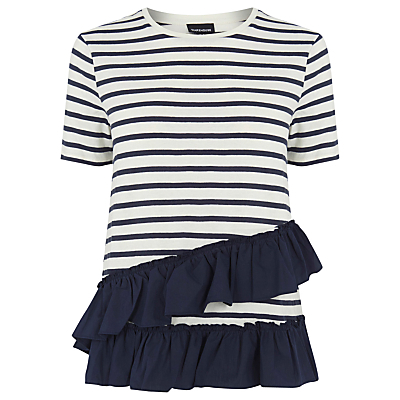 Stripe Cotton Ruffle T Shirt, Blue Stripe - pattern: horizontal stripes; style: t-shirt; predominant colour: white; secondary colour: navy; occasions: casual; length: standard; fibres: cotton - 100%; fit: body skimming; neckline: crew; sleeve length: short sleeve; sleeve style: standard; hip detail: ruffles/tiers/tie detail at hip; pattern type: fabric; texture group: jersey - stretchy/drapey; multicoloured: multicoloured; season: a/w 2016