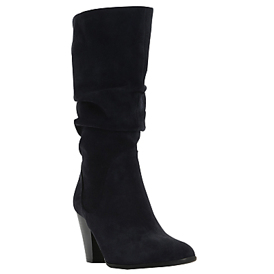 Rossy Pull On Calf Boots - predominant colour: black; occasions: casual, creative work; material: suede; heel height: high; heel: block; toe: round toe; boot length: knee; style: wellies; finish: plain; pattern: plain; season: a/w 2016