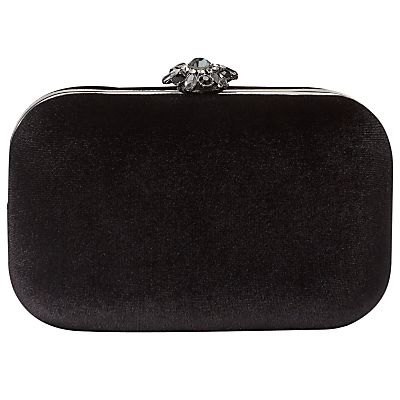 Clara Velvet Clutch Bag, Black - secondary colour: silver; predominant colour: black; occasions: evening, occasion; type of pattern: standard; style: clutch; length: hand carry; size: small; material: velvet; embellishment: crystals/glass; pattern: plain; finish: plain; season: a/w 2016; wardrobe: event; trends: velvet