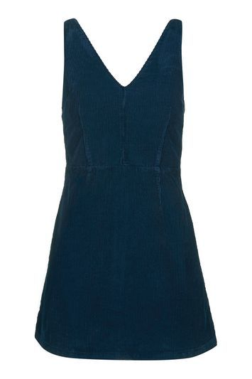 Moto Cord V Neck Dress - style: shift; length: mini; neckline: low v-neck; fit: tailored/fitted; pattern: plain; sleeve style: sleeveless; waist detail: fitted waist; predominant colour: navy; occasions: casual; fibres: cotton - 100%; sleeve length: sleeveless; texture group: corduroy; pattern type: fabric; trends: tomboy girl; wardrobe: basic; season: a/w 2016