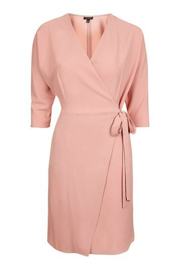 Batwing Wrap Dress - style: faux wrap/wrap; length: mid thigh; neckline: v-neck; fit: tailored/fitted; pattern: plain; waist detail: belted waist/tie at waist/drawstring; predominant colour: pink; fibres: polyester/polyamide - stretch; sleeve length: 3/4 length; sleeve style: standard; texture group: crepes; pattern type: fabric; occasions: creative work; trends: chic girl, glossy girl; season: s/s 2016; wardrobe: highlight