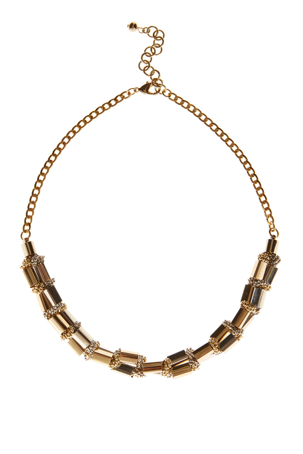Lucia Block Bar Necklace - predominant colour: gold; occasions: evening, creative work; length: short; size: standard; material: chain/metal; finish: metallic; style: bib/statement; season: a/w 2016; wardrobe: highlight
