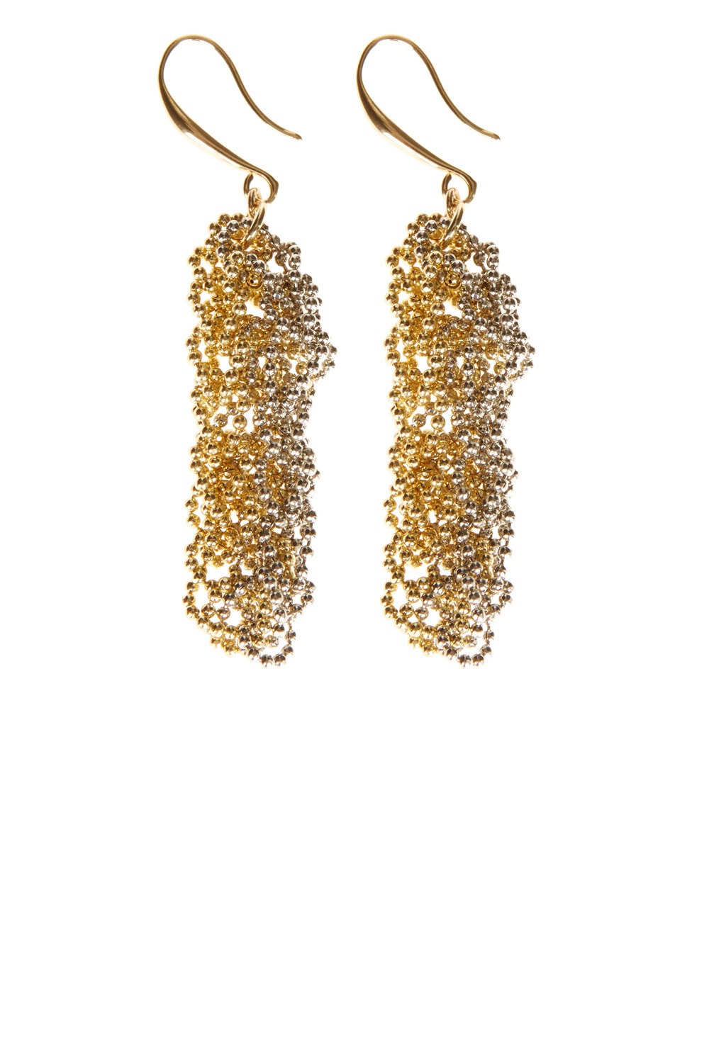 Lucia Earrings - predominant colour: gold; occasions: evening, occasion; style: drop; length: long; size: large/oversized; material: chain/metal; fastening: pierced; finish: metallic; season: a/w 2016; wardrobe: event