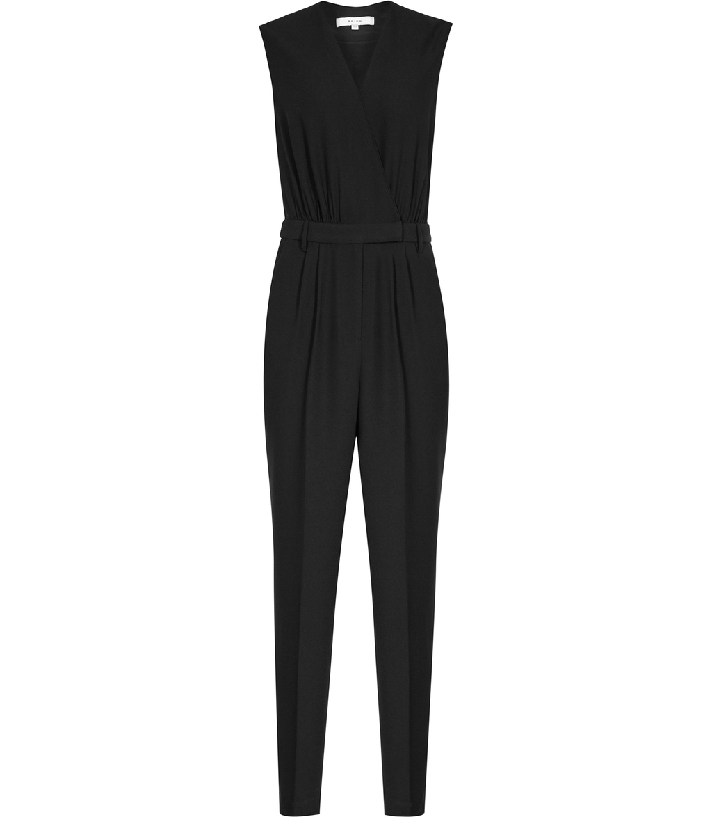 Summer Womens Wrap Front Jumpsuit In Black - length: standard; neckline: v-neck; fit: tailored/fitted; pattern: plain; sleeve style: sleeveless; predominant colour: black; occasions: evening, occasion; fibres: polyester/polyamide - 100%; sleeve length: sleeveless; style: jumpsuit; pattern type: fabric; texture group: woven light midweight; season: a/w 2016; wardrobe: event