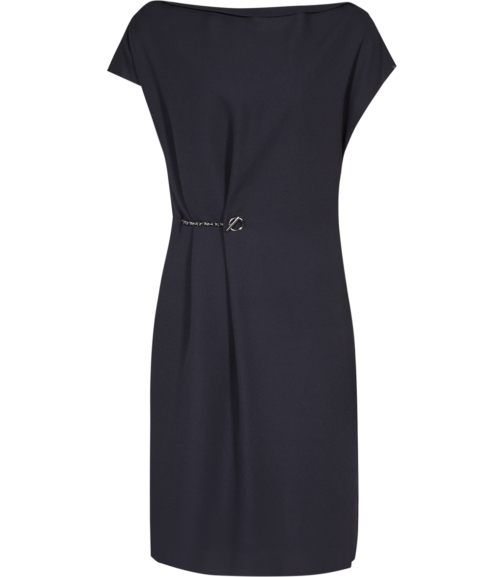 Baye Womens Chain Detail Dress In Blue - style: shift; sleeve style: capped; pattern: plain; waist detail: belted waist/tie at waist/drawstring; predominant colour: navy; occasions: evening; length: on the knee; fit: body skimming; fibres: polyester/polyamide - 100%; neckline: crew; sleeve length: short sleeve; texture group: sheer fabrics/chiffon/organza etc.; pattern type: fabric; embellishment: chain/metal; season: a/w 2016; wardrobe: event; embellishment location: waist