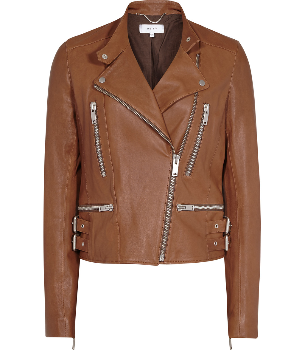 Alessia Womens Leather Biker Jacket In Brown - pattern: plain; style: biker; collar: standard lapel/rever collar; predominant colour: tan; occasions: casual; length: standard; fit: tailored/fitted; fibres: leather - 100%; sleeve length: long sleeve; sleeve style: standard; texture group: leather; collar break: medium; pattern type: fabric; season: a/w 2016; wardrobe: highlight