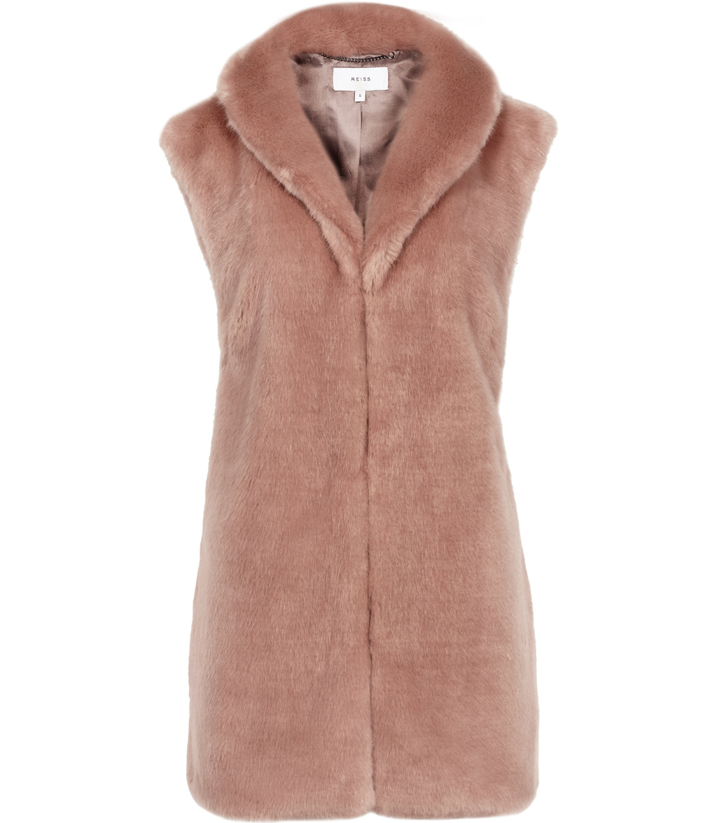 Meyer Womens Faux Fur Gilet In Brown - pattern: plain; sleeve style: sleeveless; style: gilet; length: below the bottom; fit: slim fit; predominant colour: blush; occasions: casual; fibres: acrylic - mix; sleeve length: sleeveless; texture group: fur; collar: fur; collar break: high; pattern type: fabric; season: a/w 2016; wardrobe: highlight