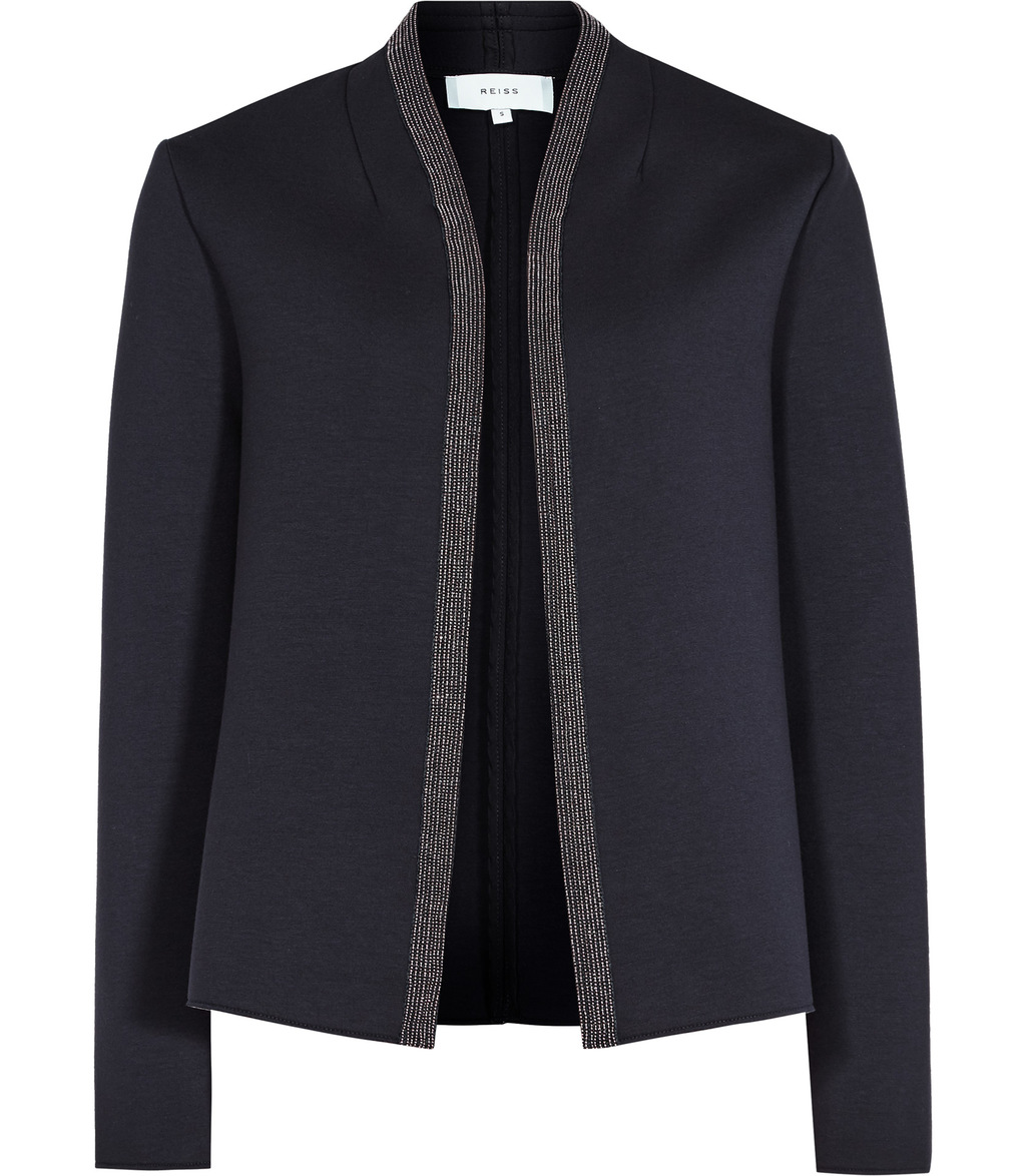 Monia Womens Neoprene Jacket In Blue - pattern: plain; collar: round collar/collarless; style: boxy; predominant colour: navy; occasions: work; length: standard; fit: straight cut (boxy); fibres: viscose/rayon - stretch; sleeve length: long sleeve; sleeve style: standard; collar break: low/open; pattern type: fabric; texture group: woven light midweight; season: a/w 2016