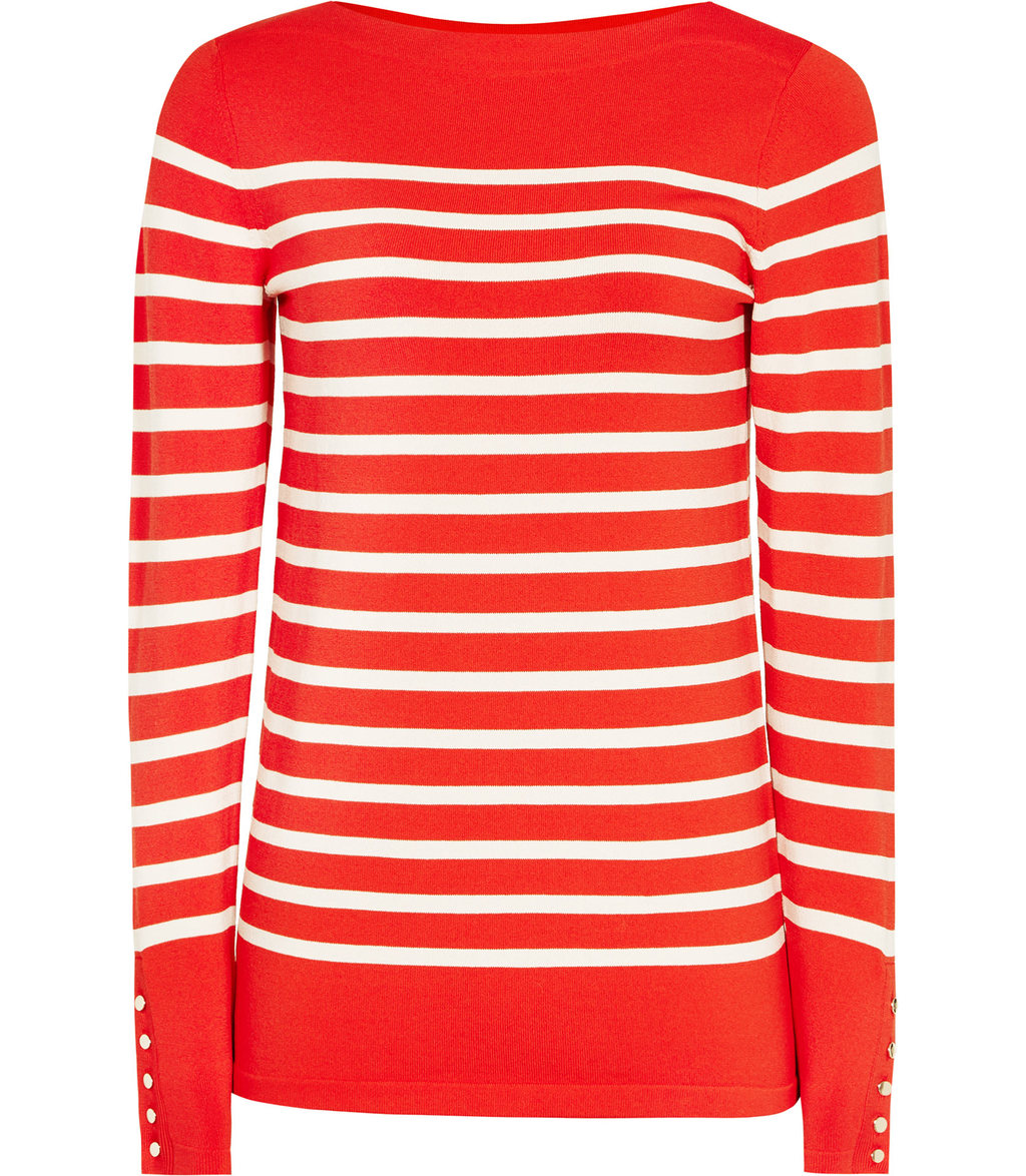 Oxford Womens Nautical Striped Jumper In Orange - neckline: round neck; pattern: horizontal stripes; style: standard; secondary colour: white; predominant colour: bright orange; occasions: casual, work, creative work; length: standard; fibres: viscose/rayon - stretch; fit: standard fit; sleeve length: long sleeve; sleeve style: standard; texture group: knits/crochet; pattern type: knitted - fine stitch; season: a/w 2016; wardrobe: highlight
