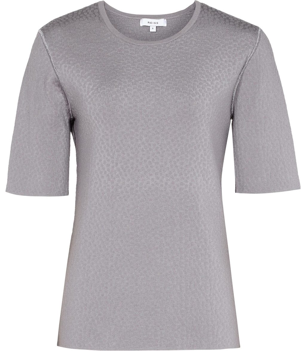 Karen Womens Texured Short Sleeve Jumper In Grey - neckline: round neck; pattern: plain; style: standard; predominant colour: mid grey; occasions: casual, work, creative work; length: standard; fibres: viscose/rayon - 100%; fit: standard fit; sleeve length: half sleeve; sleeve style: standard; texture group: knits/crochet; pattern type: knitted - fine stitch; wardrobe: basic; season: a/w 2016