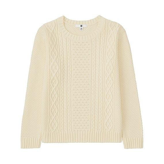 Kids Cable Crew Neck Long Sleeve Sweater (4 Colours) Off White - style: standard; pattern: cable knit; predominant colour: ivory/cream; occasions: casual; length: standard; fibres: cotton - 100%; fit: standard fit; neckline: crew; sleeve length: long sleeve; sleeve style: standard; texture group: knits/crochet; pattern type: knitted - other; season: a/w 2016; wardrobe: highlight