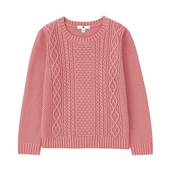 Kids Cable Crew Neck Long Sleeve Sweater (4 Colours) Pink - style: standard; pattern: cable knit; predominant colour: pink; occasions: casual; length: standard; fibres: cotton - 100%; fit: standard fit; neckline: crew; sleeve length: long sleeve; sleeve style: standard; texture group: knits/crochet; pattern type: knitted - other; season: a/w 2016; wardrobe: highlight