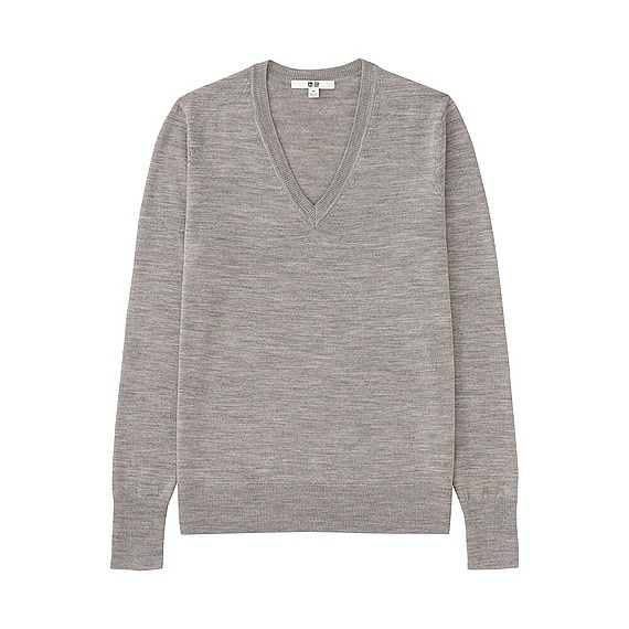 Women Extra Fine Merino V Neck Sweater (12 Colours) Gray - neckline: v-neck; pattern: plain; style: standard; predominant colour: mid grey; occasions: casual, work, creative work; length: standard; fibres: wool - 100%; fit: standard fit; sleeve length: long sleeve; sleeve style: standard; texture group: knits/crochet; pattern type: knitted - fine stitch; wardrobe: basic; season: a/w 2016