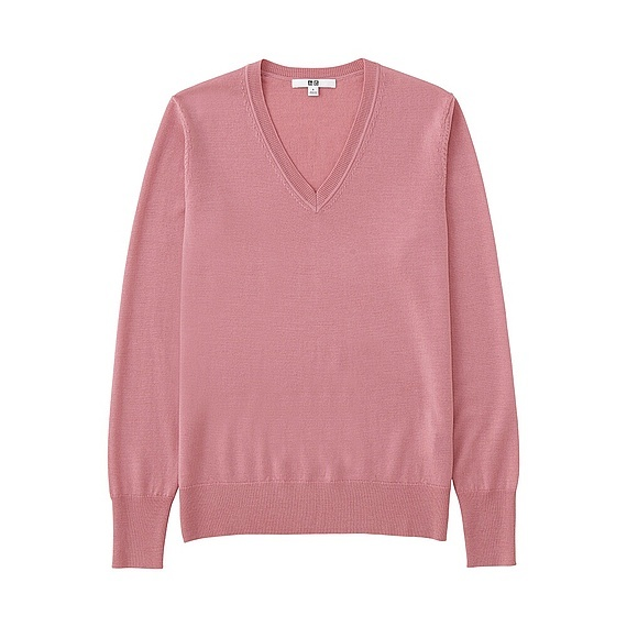 Women Extra Fine Merino V Neck Sweater (12 Colours) Pink - neckline: v-neck; pattern: plain; style: standard; predominant colour: pink; occasions: casual; length: standard; fibres: wool - 100%; fit: slim fit; sleeve length: long sleeve; sleeve style: standard; texture group: knits/crochet; pattern type: knitted - fine stitch; season: a/w 2016; wardrobe: highlight