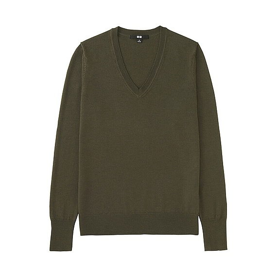 Women Extra Fine Merino V Neck Sweater (12 Colours) Olive - neckline: v-neck; pattern: plain; style: standard; predominant colour: khaki; occasions: casual, work, creative work; length: standard; fibres: wool - 100%; fit: loose; sleeve length: long sleeve; sleeve style: standard; texture group: knits/crochet; pattern type: knitted - fine stitch; wardrobe: basic; season: a/w 2016