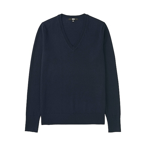 Women Extra Fine Merino V Neck Sweater (12 Colours) Navy - neckline: v-neck; pattern: plain; style: standard; predominant colour: navy; occasions: casual, work, creative work; length: standard; fibres: wool - 100%; fit: standard fit; sleeve length: long sleeve; sleeve style: standard; texture group: structured shiny - satin/tafetta/silk etc.; pattern type: fabric; season: a/w 2016; wardrobe: highlight