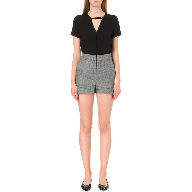 Irra Woven And Twill Playsuit, Women's, Black - fit: tailored/fitted; length: short shorts; secondary colour: mid grey; predominant colour: black; occasions: evening, creative work; neckline: peep hole neckline; sleeve length: short sleeve; sleeve style: standard; style: playsuit; pattern type: fabric; pattern size: standard; pattern: colourblock; texture group: other - light to midweight; fibres: viscose/rayon - mix; season: a/w 2016; wardrobe: highlight